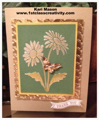 DIY Card Using The Ombre Technique And Craft Metal  - Visit www.1stclasscreativity.com