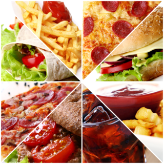 Food collage pizza subs
