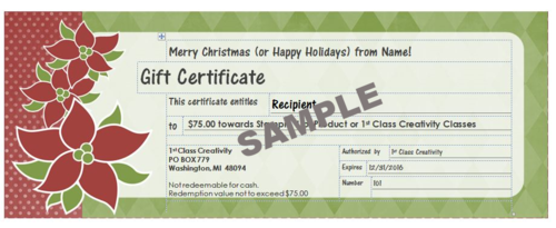 $75 sample gift www.1stclasscreativity.com
