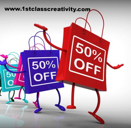 50% off dancing shopping bags www.1stclasscreativity.com