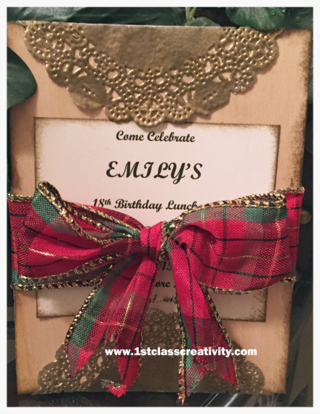 18 year old birthday invitation meets shabby chic - www.1stclasscreativity.com